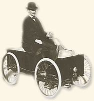 Henry Ford And His First Car The Quadricycle Which He Built In 1896