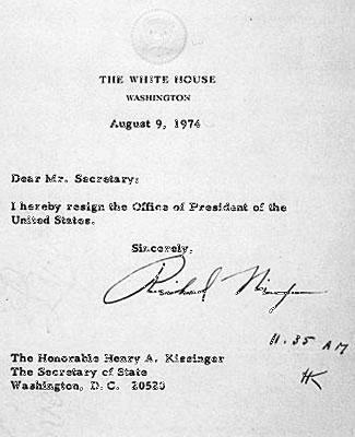 president nixon's resignation letter