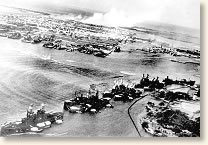 attack at pearl harbor  battleship row under attack hickam field burns in the distance